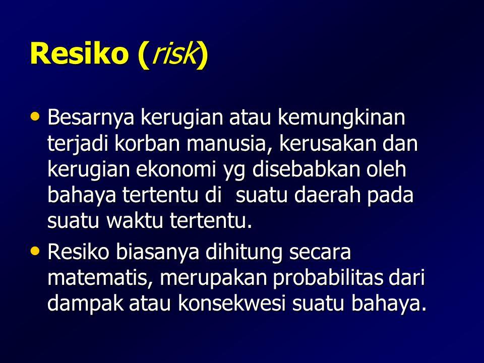 Resiko (risk) Besarnya kerugian atau kemungkinan terjadi korban manusia, kerusakan dan kerugian ekonomi yg disebabkan oleh bahaya tertentu di suatu da