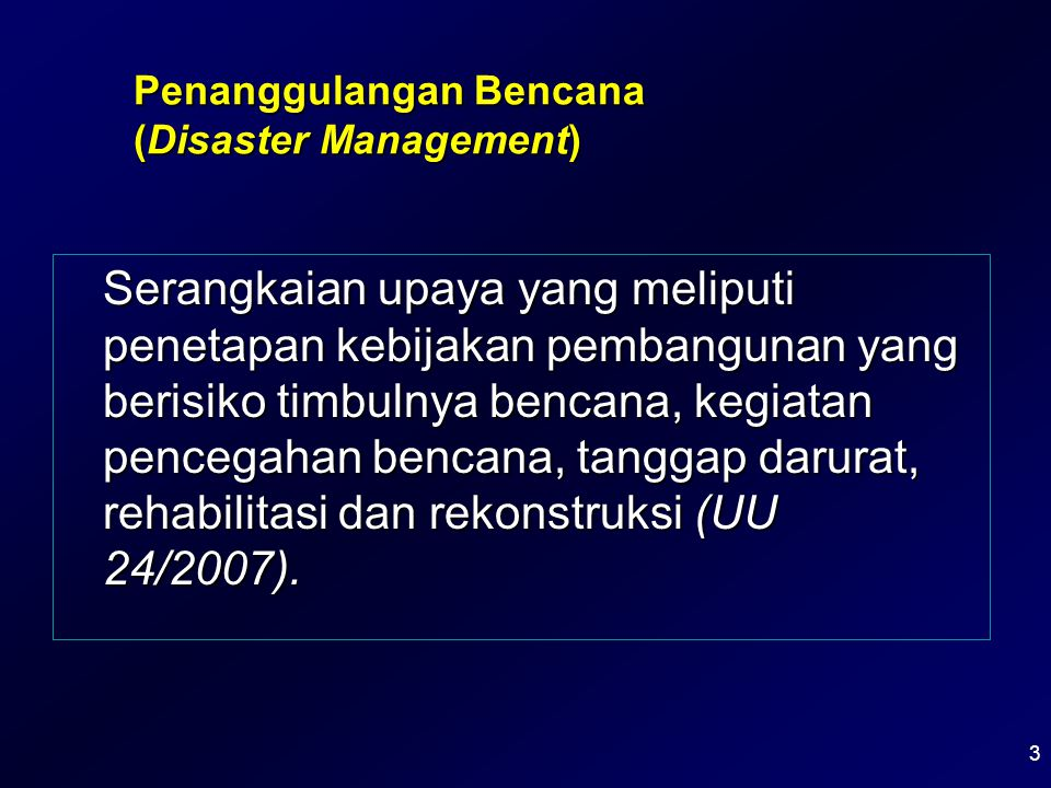 Upaya yang dilakukan untuk mencegah terjadinya bencana (jika mungkin dengan meniadakan bahaya).Upaya yang dilakukan untuk mencegah terjadinya bencana (jika mungkin dengan meniadakan bahaya).
