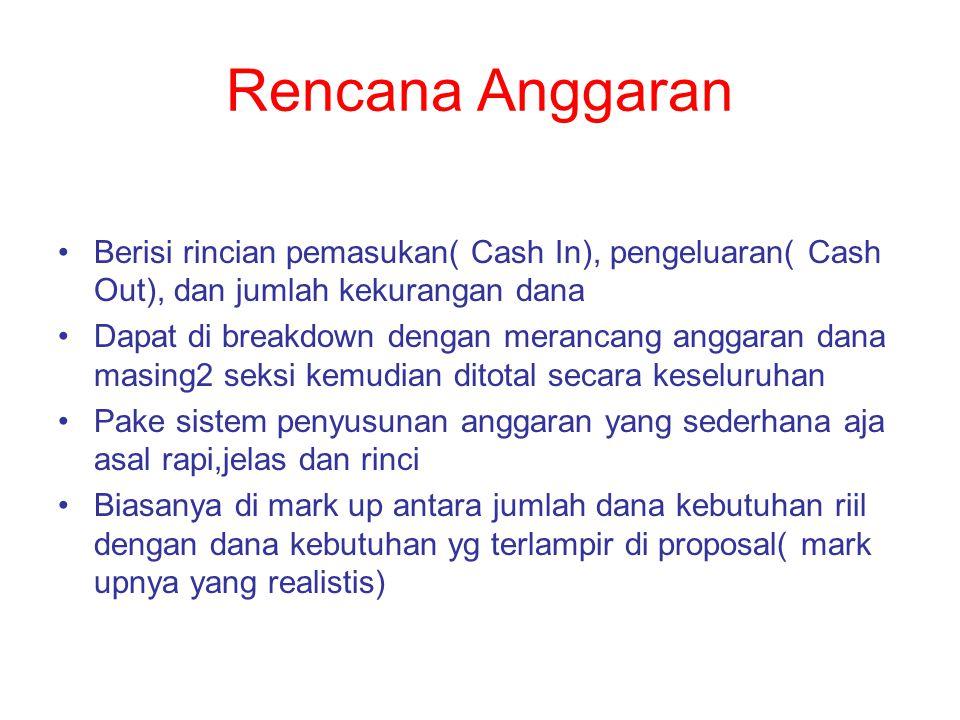 Rencana Anggaran Berisi rincian pemasukan( Cash In), pengeluaran( Cash Out), dan jumlah kekurangan dana Dapat di breakdown dengan merancang anggaran d