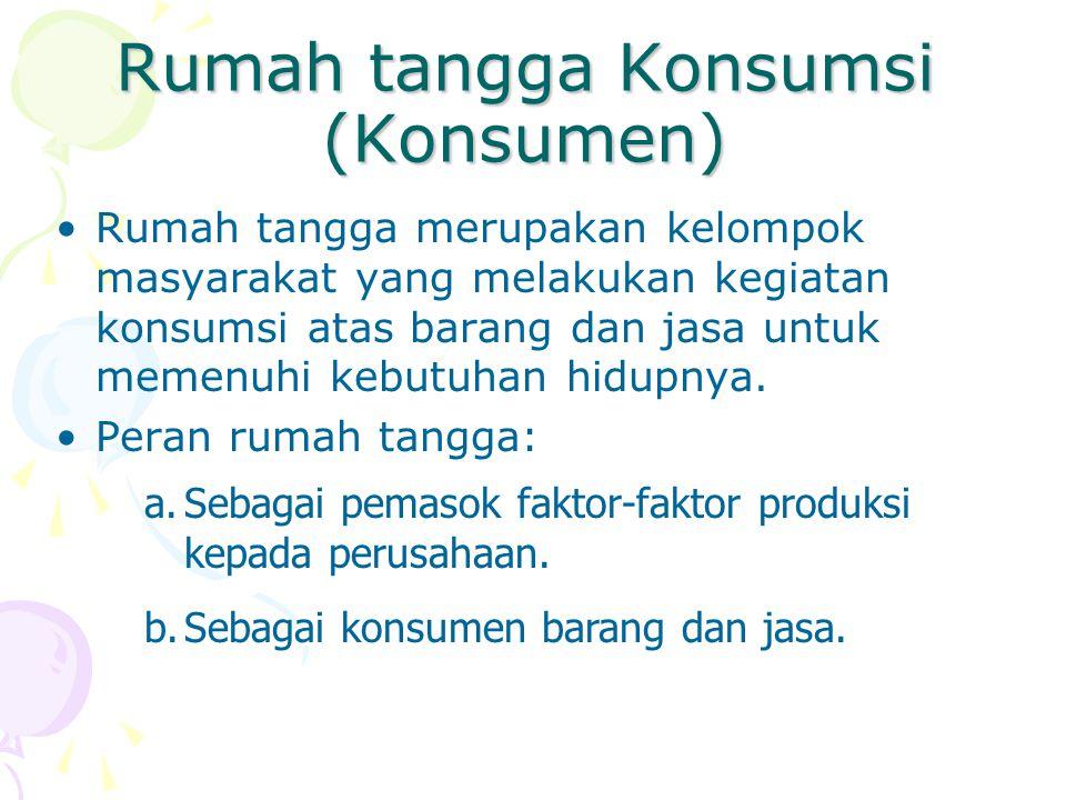 Rumah tangga Konsumsi (Konsumen) Rumah tangga merupakan kelompok masyarakat yang melakukan kegiatan konsumsi atas barang dan jasa untuk memenuhi kebut