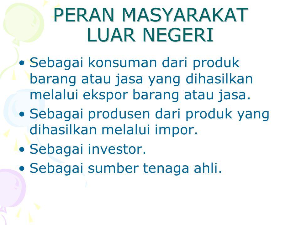 PERAN MASYARAKAT LUAR NEGERI Sebagai konsuman dari produk barang atau jasa yang dihasilkan melalui ekspor barang atau jasa. Sebagai produsen dari prod