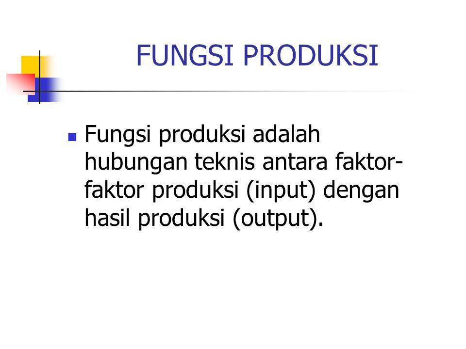 FUNGSI PRODUKSI Fungsi produksi adalah hubungan teknis antara faktor- faktor produksi (input) dengan hasil produksi (output).