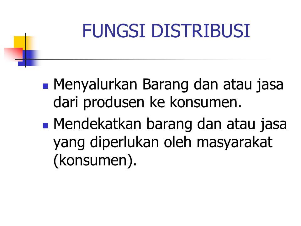FUNGSI DISTRIBUSI Menyalurkan Barang dan atau jasa dari produsen ke konsumen. Mendekatkan barang dan atau jasa yang diperlukan oleh masyarakat (konsum