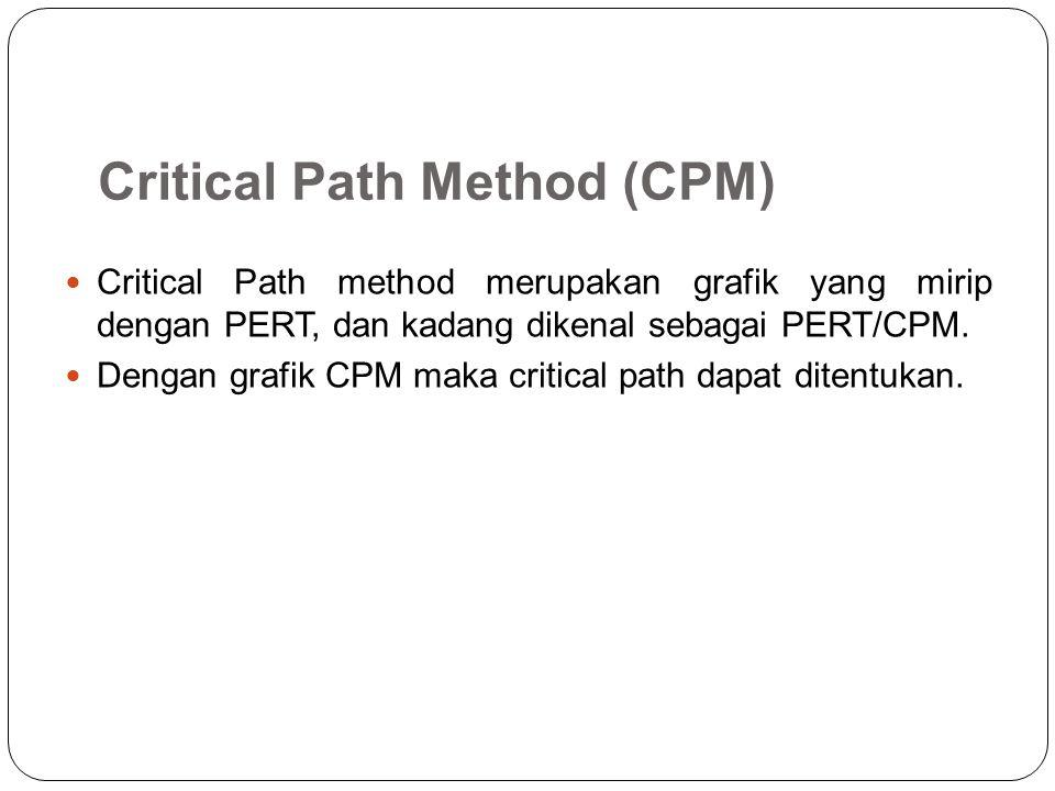 Critical Path Method (CPM) Critical Path method merupakan grafik yang mirip dengan PERT, dan kadang dikenal sebagai PERT/CPM. Dengan grafik CPM maka c
