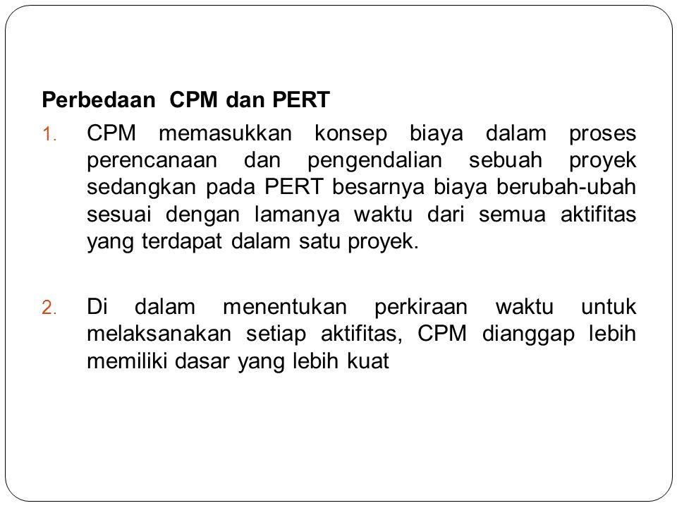 Perbedaan CPM dan PERT 1. CPM memasukkan konsep biaya dalam proses perencanaan dan pengendalian sebuah proyek sedangkan pada PERT besarnya biaya berub