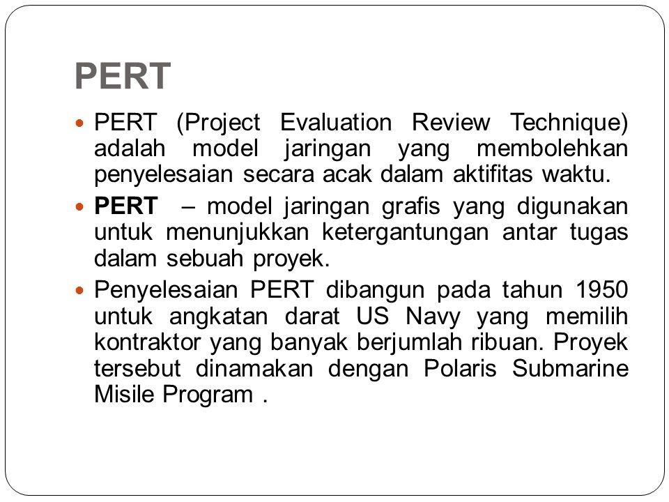 PERT PERT (Project Evaluation Review Technique) adalah model jaringan yang membolehkan penyelesaian secara acak dalam aktifitas waktu. PERT – model ja