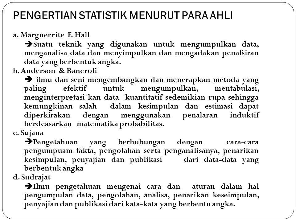 PENGERTIAN STATISTIK MENURUT PARA AHLI a. Marguerrite F. Hall  Suatu teknik yang digunakan untuk mengumpulkan data, menganalisa data dan menyimpulkan
