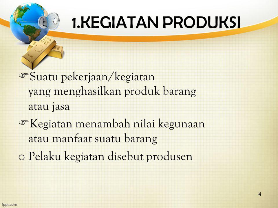 4 1.KEGIATAN PRODUKSI  Suatu pekerjaan/kegiatan yang menghasilkan produk barang atau jasa  Kegiatan menambah nilai kegunaan atau manfaat suatu barang o Pelaku kegiatan disebut produsen