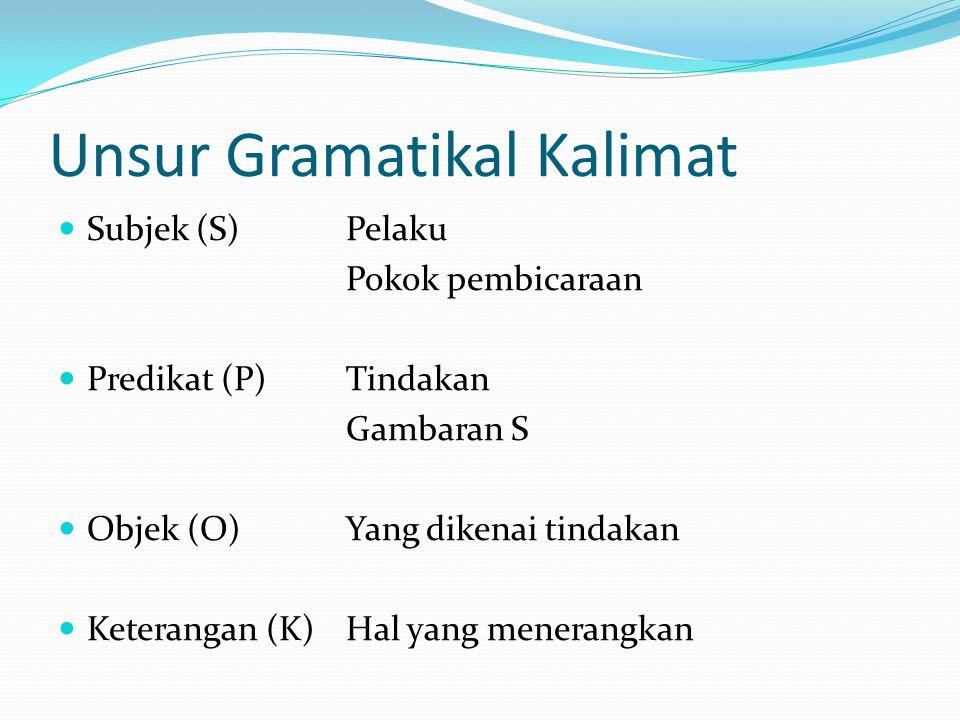 Unsur Gramatikal Kalimat Subjek (S)Pelaku Pokok pembicaraan Predikat (P)Tindakan Gambaran S Objek (O)Yang dikenai tindakan Keterangan (K)Hal yang mene