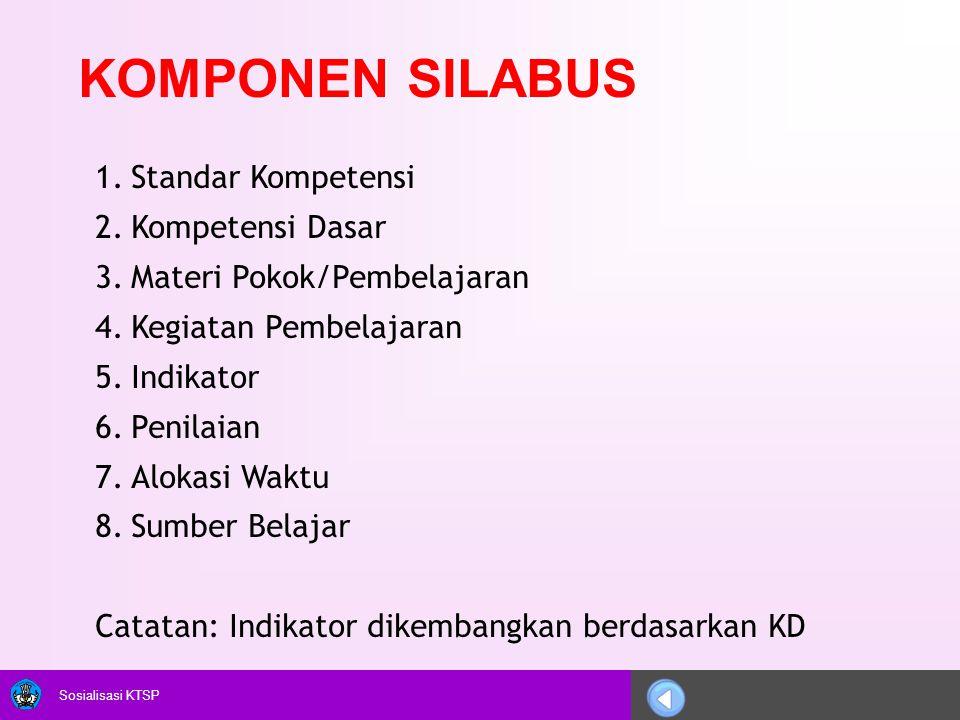 Sosialisasi KTSP KOMPONEN SILABUS 1.Standar Kompetensi 2.Kompetensi Dasar 3.Materi Pokok/Pembelajaran 4.Kegiatan Pembelajaran 5.Indikator 6.Penilaian
