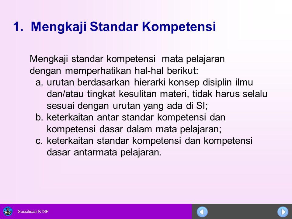 Sosialisasi KTSP 1. Mengkaji Standar Kompetensi Mengkaji standar kompetensi mata pelajaran dengan memperhatikan hal-hal berikut: a.urutan berdasarkan