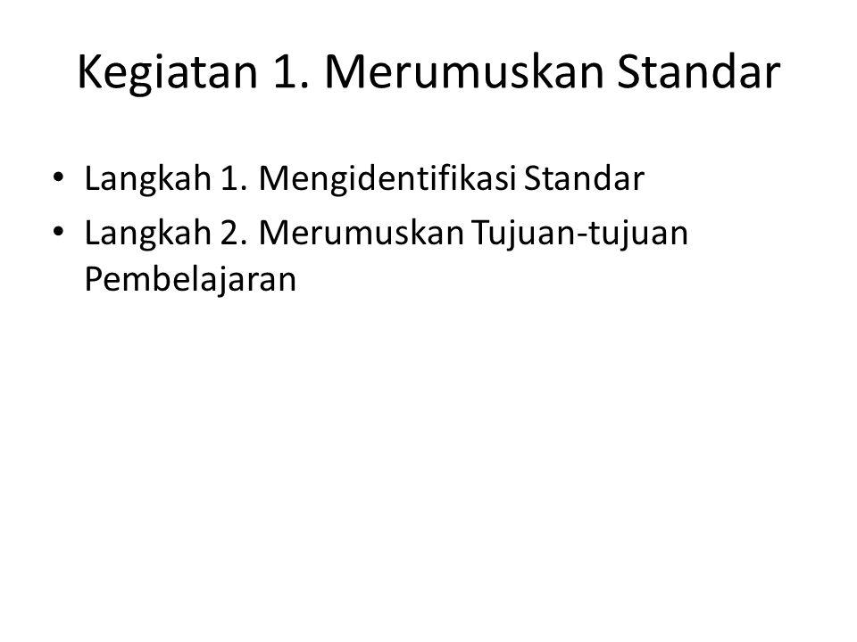 Kegiatan 1. Merumuskan Standar Langkah 1. Mengidentifikasi Standar Langkah 2.