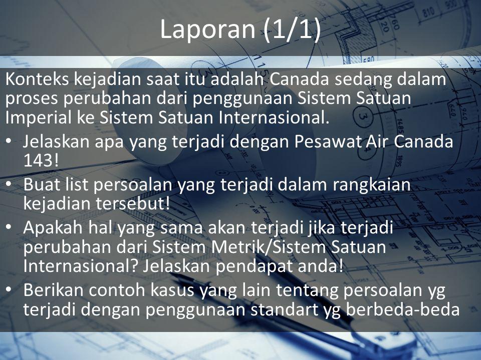 Laporan (1/1) Konteks kejadian saat itu adalah Canada sedang dalam proses perubahan dari penggunaan Sistem Satuan Imperial ke Sistem Satuan Internasional.