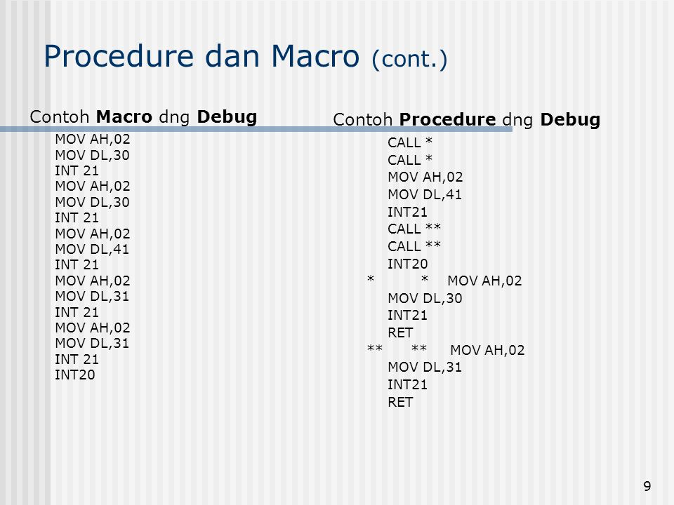 9 Procedure dan Macro (cont.) Contoh Macro dng Debug MOV AH,02 MOV DL,30 INT 21 MOV AH,02 MOV DL,30 INT 21 MOV AH,02 MOV DL,41 INT 21 MOV AH,02 MOV DL