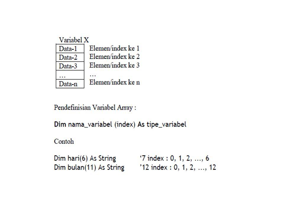 Array Multi Dimensi Array berdimensi 2 terdiri dari baris dan kolom, contohnya pada tabel atau matrik.