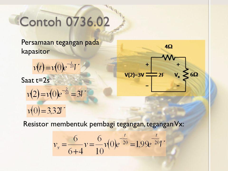Contoh 0736.02 Persamaan tegangan pada kapasitor Saat t=2s Resistor membentuk pembagi tegangan, tegangan Vx: