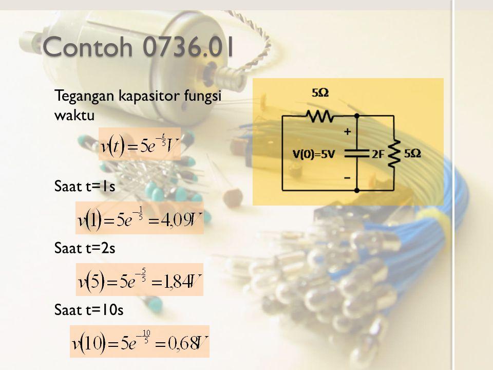 Contoh 0736.01 Tegangan kapasitor fungsi waktu Saat t=1s Saat t=2s Saat t=10s
