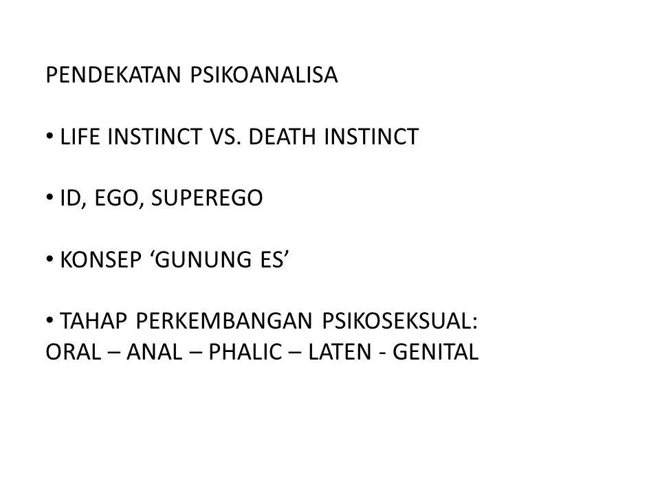 PENDEKATAN PSIKOANALISA LIFE INSTINCT VS. DEATH INSTINCT ID, EGO, SUPEREGO KONSEP 'GUNUNG ES' TAHAP PERKEMBANGAN PSIKOSEKSUAL: ORAL – ANAL – PHALIC –