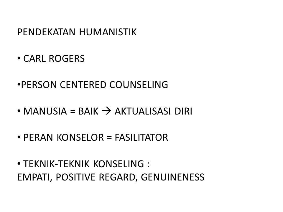 PENDEKATAN HUMANISTIK CARL ROGERS PERSON CENTERED COUNSELING MANUSIA = BAIK  AKTUALISASI DIRI PERAN KONSELOR = FASILITATOR TEKNIK-TEKNIK KONSELING :