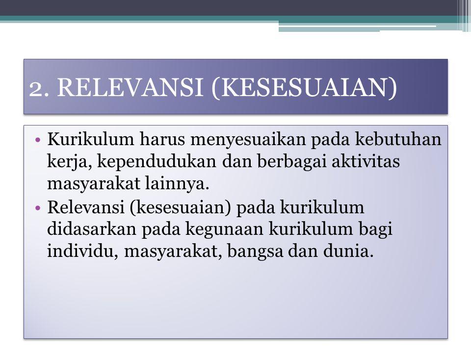 2. RELEVANSI (KESESUAIAN) Kurikulum harus menyesuaikan pada kebutuhan kerja, kependudukan dan berbagai aktivitas masyarakat lainnya. Relevansi (kesesu