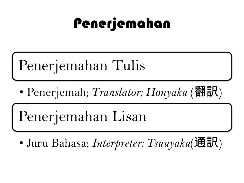 Penerjemahan Penerjemahan Tulis Penerjemah; Translator; Honyaku ( 翻訳 ) Penerjemahan Lisan Juru Bahasa; Interpreter; Tsuuyaku ( 通訳 )