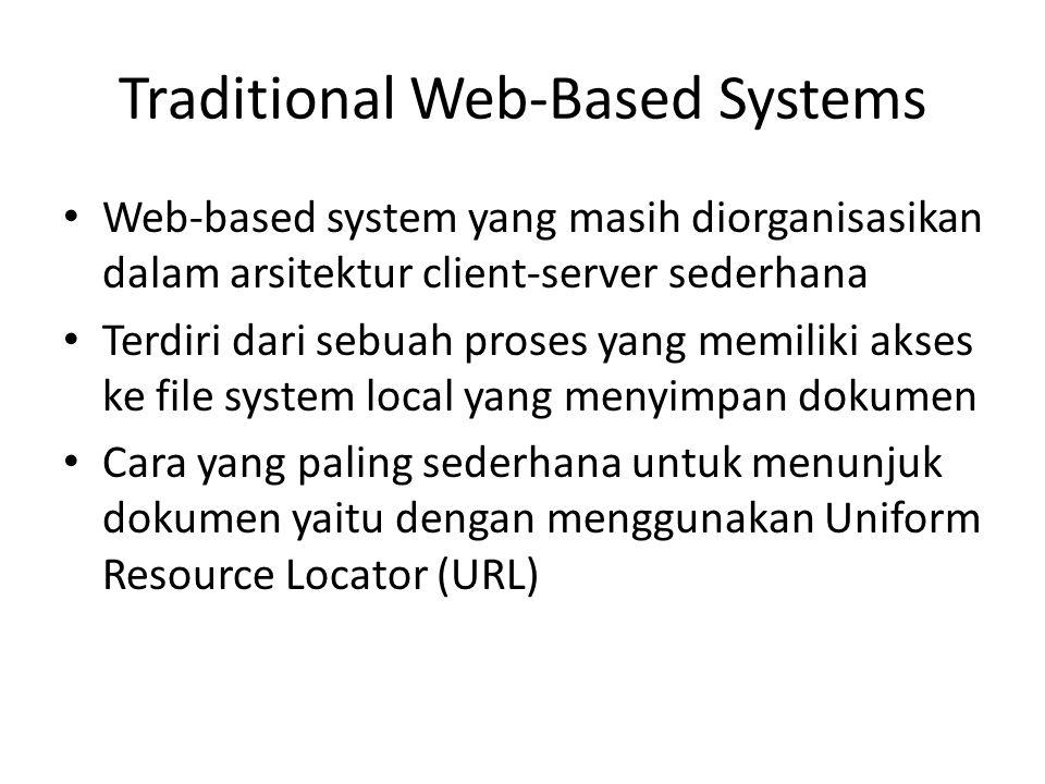 Traditional Web-Based Systems Web-based system yang masih diorganisasikan dalam arsitektur client-server sederhana Terdiri dari sebuah proses yang mem