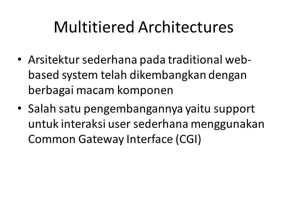 Multitiered Architectures Arsitektur sederhana pada traditional web- based system telah dikembangkan dengan berbagai macam komponen Salah satu pengemb
