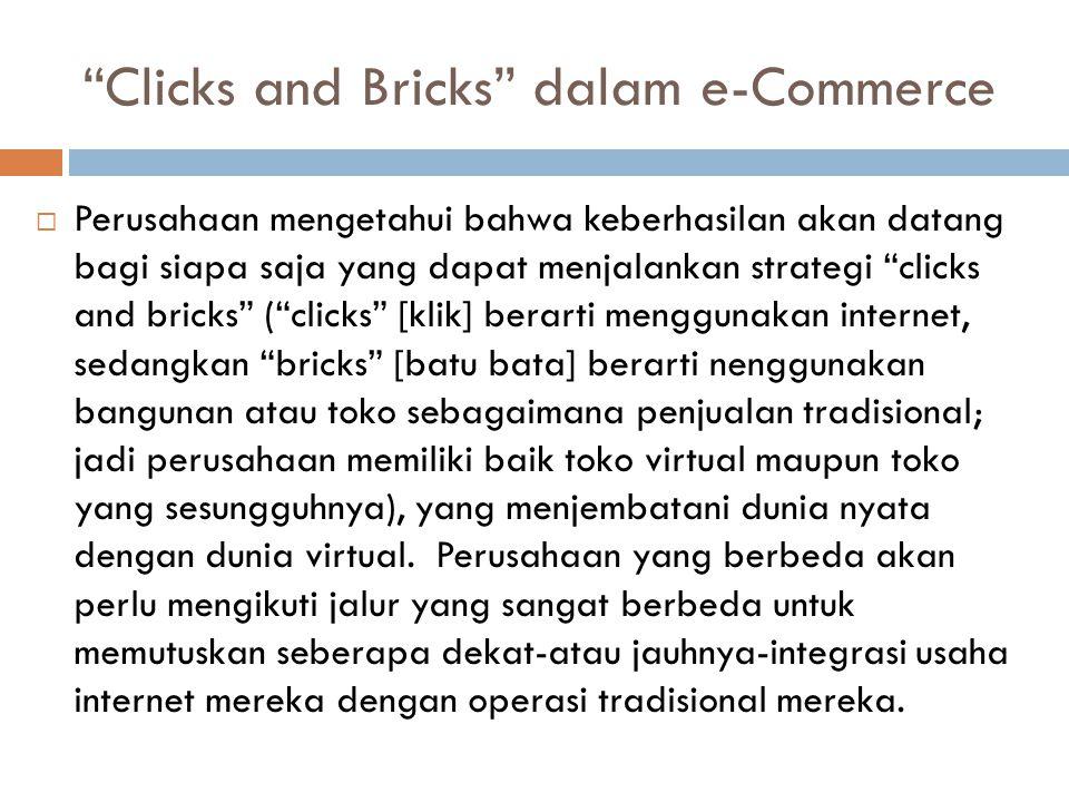 """""""Clicks and Bricks"""" dalam e-Commerce  Perusahaan mengetahui bahwa keberhasilan akan datang bagi siapa saja yang dapat menjalankan strategi """"clicks an"""
