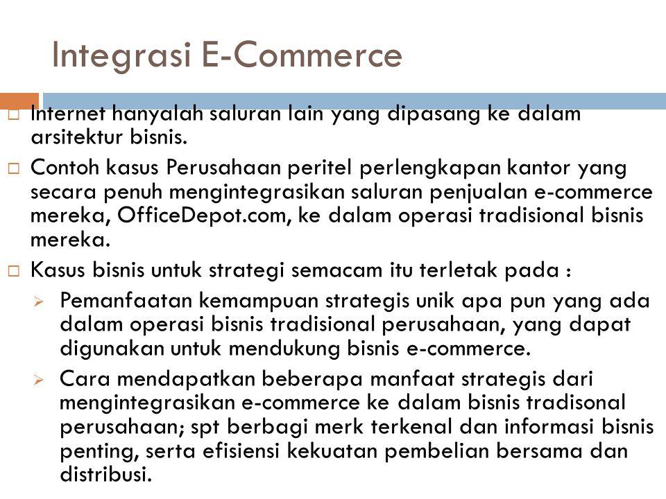 Integrasi E-Commerce  Internet hanyalah saluran lain yang dipasang ke dalam arsitektur bisnis.  Contoh kasus Perusahaan peritel perlengkapan kantor