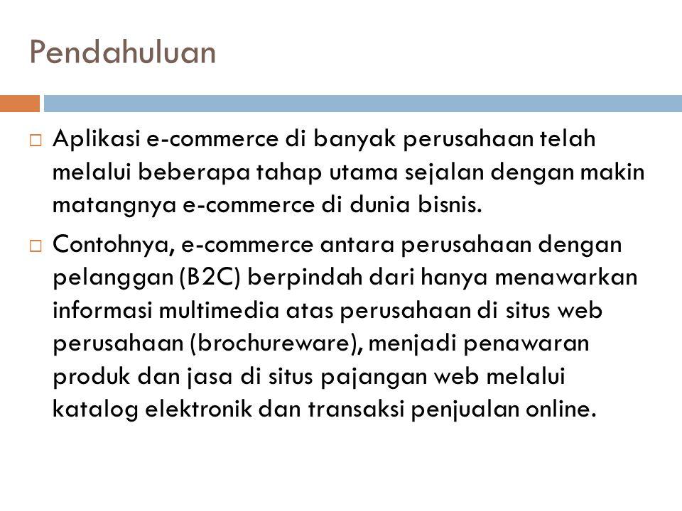 Berbagai Tren dalam E-Commerce  (1) E-Commerce Business-to-Consumer  Aplikasi e-commerce yang berfokus pada pelanggan memiliki tujuan penting yang sama: menarik calon pembeli, melakukan transaksi atas barang dan jasa, serta membangun loyalitas pelanggan melalui pelayanan yang baik untuk setiap individu dan terlibat dengan berbagai fitur komunitas.
