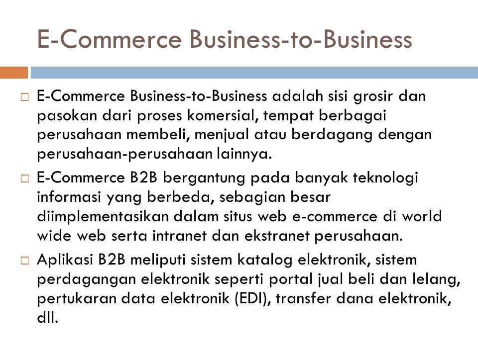 E-Commerce Business-to-Business  E-Commerce Business-to-Business adalah sisi grosir dan pasokan dari proses komersial, tempat berbagai perusahaan mem