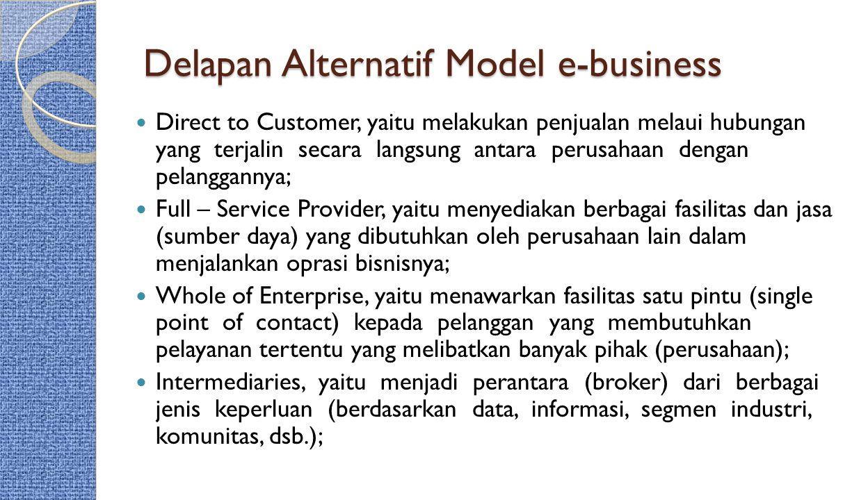 Delapan Alternatif Model e-business Direct to Customer, yaitu melakukan penjualan melaui hubungan yang terjalin secara langsung antara perusahaan deng