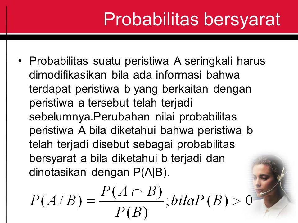 Probabilitas bersyarat Probabilitas suatu peristiwa A seringkali harus dimodifikasikan bila ada informasi bahwa terdapat peristiwa b yang berkaitan dengan peristiwa a tersebut telah terjadi sebelumnya.Perubahan nilai probabilitas peristiwa A bila diketahui bahwa peristiwa b telah terjadi disebut sebagai probabilitas bersyarat a bila diketahui b terjadi dan dinotasikan dengan P(A|B).
