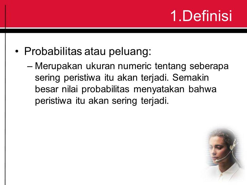 1.Definisi Probabilitas atau peluang: –Merupakan ukuran numeric tentang seberapa sering peristiwa itu akan terjadi.
