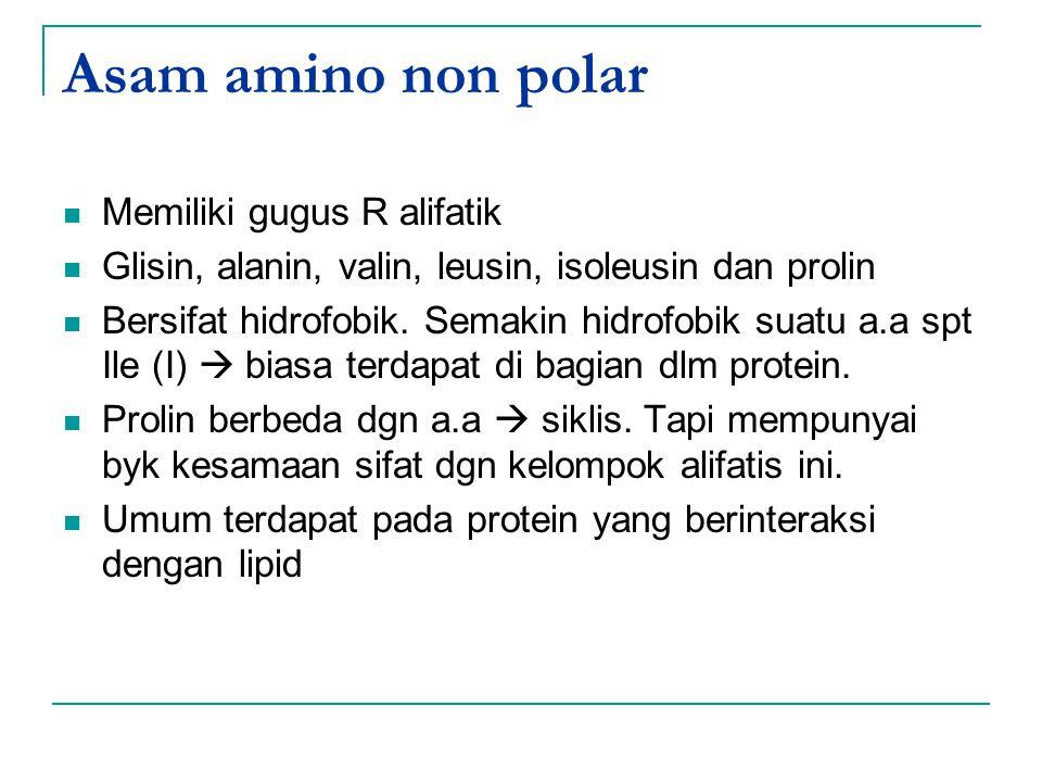 Asam amino non polar Memiliki gugus R alifatik Glisin, alanin, valin, leusin, isoleusin dan prolin Bersifat hidrofobik. Semakin hidrofobik suatu a.a s