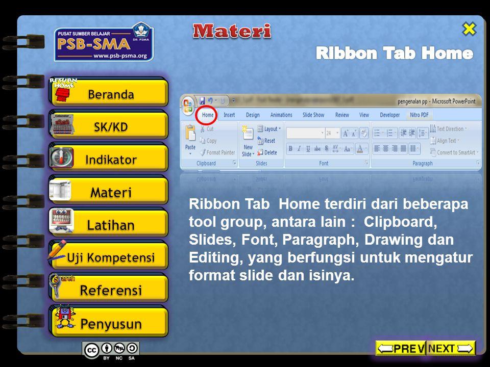 Ribbon Tab Home terdiri dari beberapa tool group, antara lain : Clipboard, Slides, Font, Paragraph, Drawing dan Editing, yang berfungsi untuk mengatur