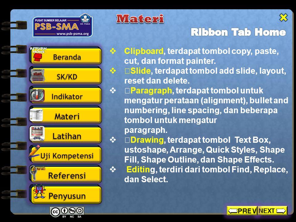  Clipboard, terdapat tombol copy, paste, cut, dan format painter.  ƒSlide, terdapat tombol add slide, layout, reset dan delete.  ƒParagraph, terdap