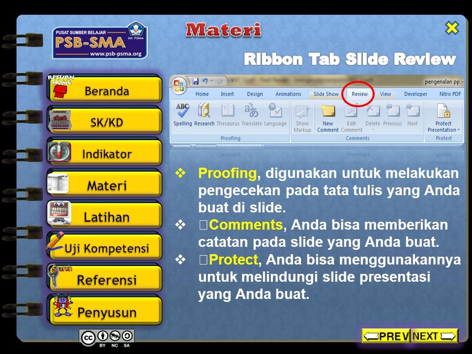  Presentation Views, pada bagian ini Anda dapat melihat keseluruhan dari slide yang telah Anda buat.