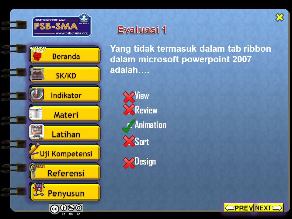 Perintah atau ikon hyperlink terdapat pada menu…. a. View c. Insert b. Review d. Sort e. Design