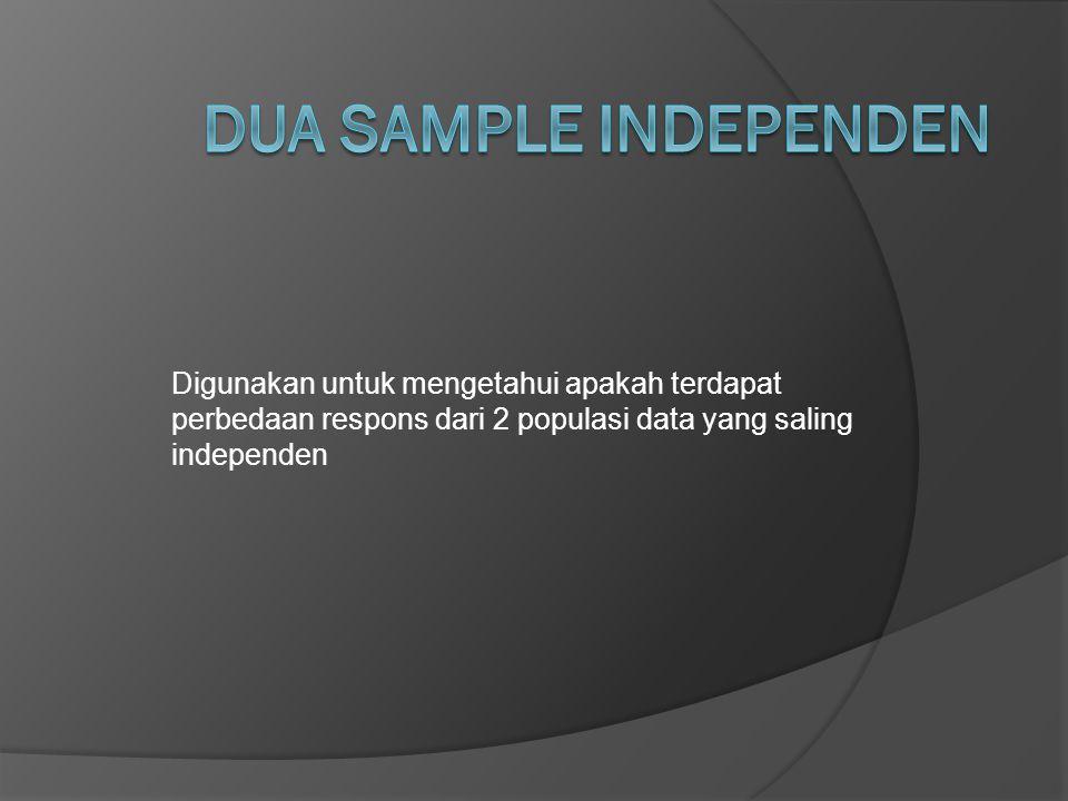 Digunakan untuk mengetahui apakah terdapat perbedaan respons dari 2 populasi data yang saling independen
