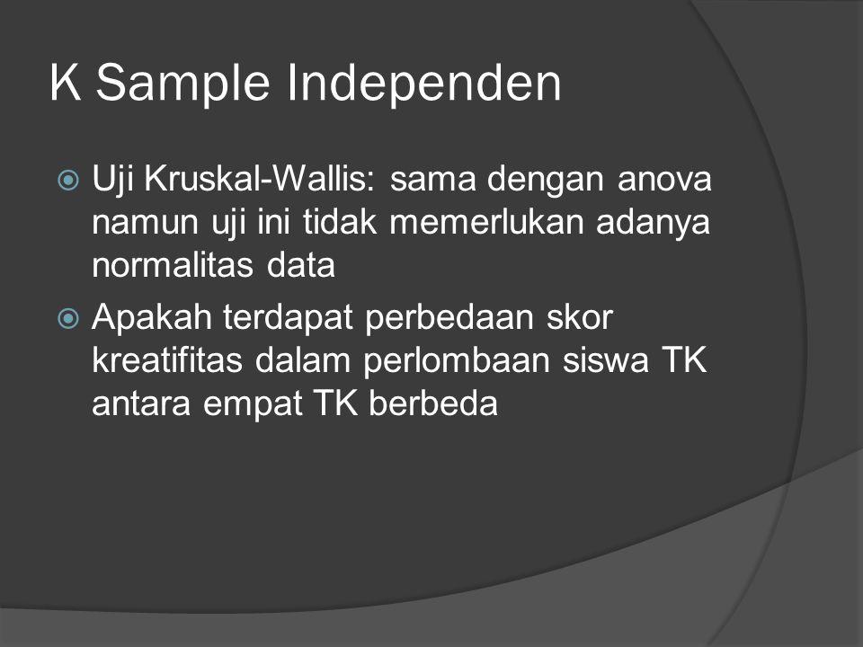 K Sample Independen  Uji Kruskal-Wallis: sama dengan anova namun uji ini tidak memerlukan adanya normalitas data  Apakah terdapat perbedaan skor kreatifitas dalam perlombaan siswa TK antara empat TK berbeda