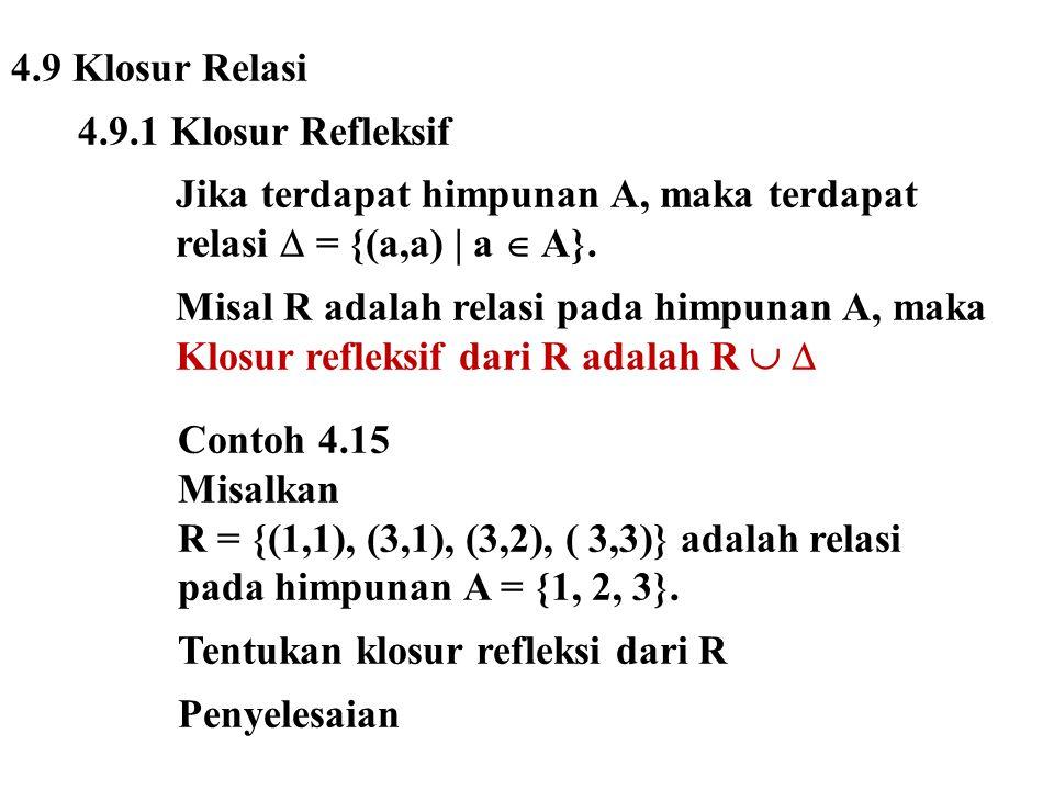 4.9 Klosur Relasi 4.9.1 Klosur Refleksif Jika terdapat himpunan A, maka terdapat relasi  = {(a,a) | a  A}. Misal R adalah relasi pada himpunan A, ma