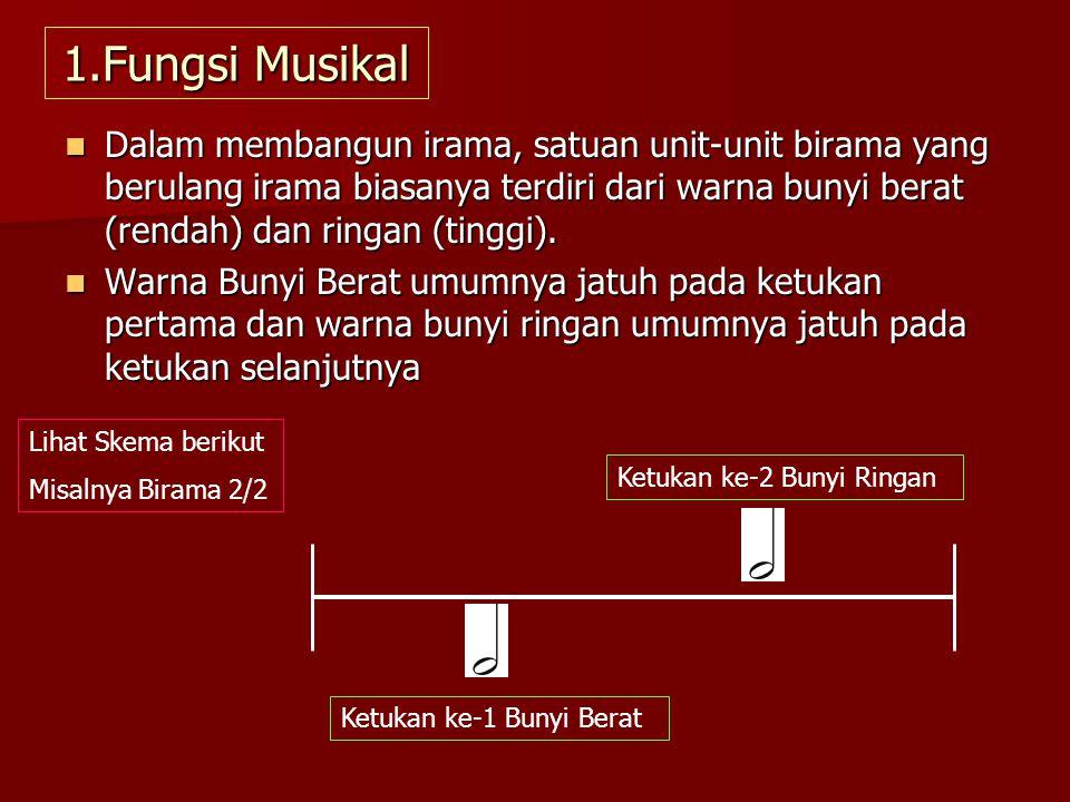 1.Fungsi Musikal Dalam membangun irama, satuan unit-unit birama yang berulang irama biasanya terdiri dari warna bunyi berat (rendah) dan ringan (tingg