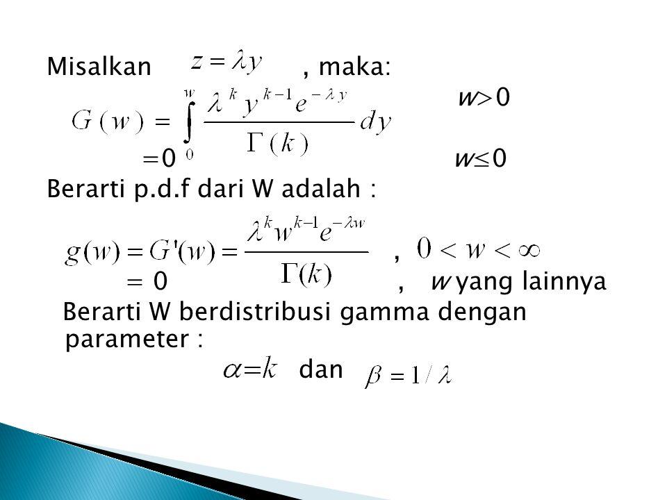 Misalkan, maka: w>0 =0 w≤0 Berarti p.d.f dari W adalah :, = 0, w yang lainnya Berarti W berdistribusi gamma dengan parameter : dan