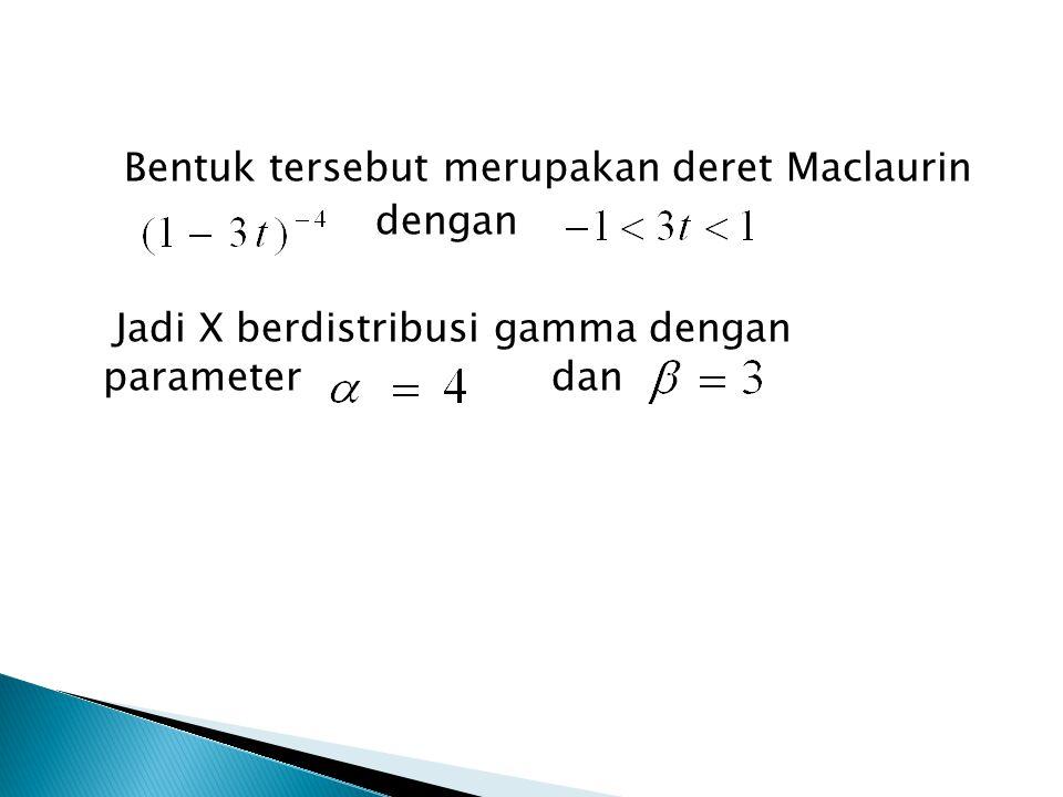 Bentuk tersebut merupakan deret Maclaurin dengan Jadi X berdistribusi gamma dengan parameter dan