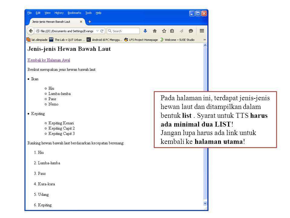 b)File menu3.html berisi gambar-gambar tentang tema yang ditampilkan menggunakan description list.