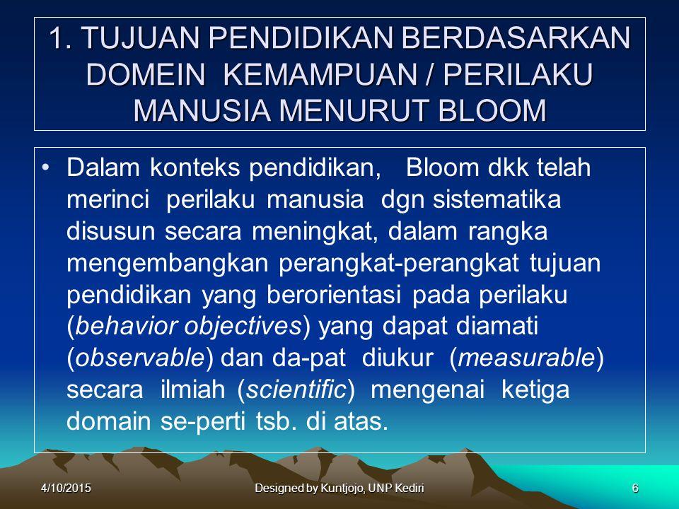 7 Secara garis besar taksonomi perilaku menurut Bloom sbb: a.The Cognitive Domain (kawasan kognitif), meliputi : 1) Knowledge (pengetahuan); 2) Comprehension (pemahaman); 3) Application (penerapan); 4) Analysis (analisis); 5) Synthesis (memadukan); 6) Evaluation (evaluasi).