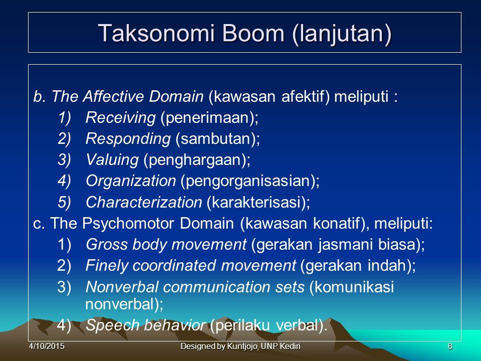 8 Taksonomi Boom (lanjutan) b. The Affective Domain (kawasan afektif) meliputi : 1)Receiving (penerimaan); 2)Responding (sambutan); 3) Valuing (pengha