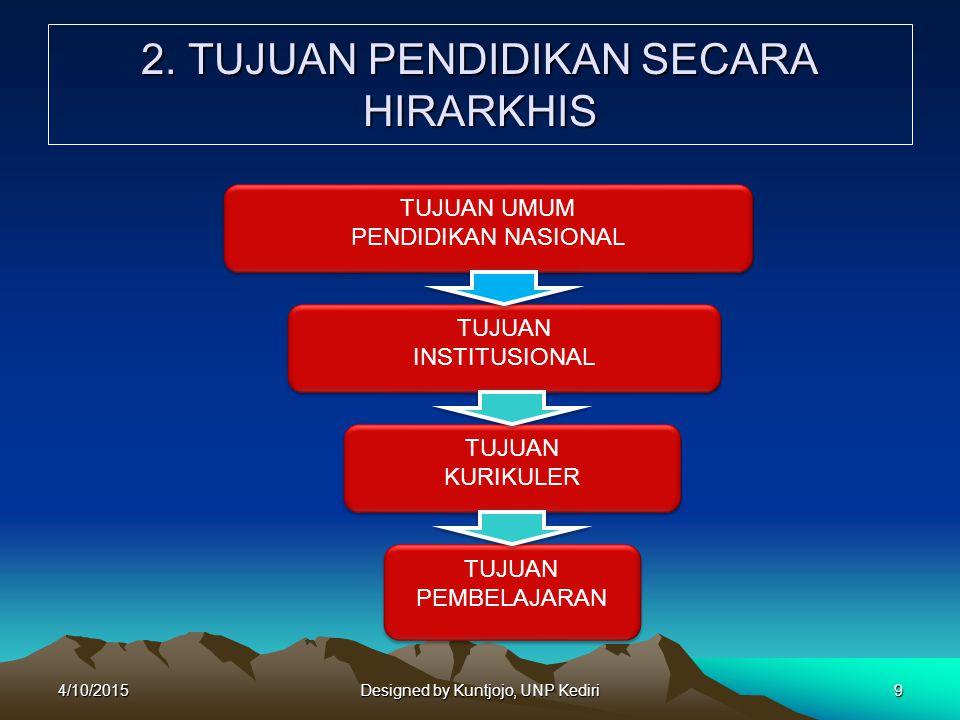 1)Tujuan Umum Pendidikan Nasional : tujuan pendidikan yang diusahakan untuk dicapai oleh semua kegiatan pendidikan di Indonesia.