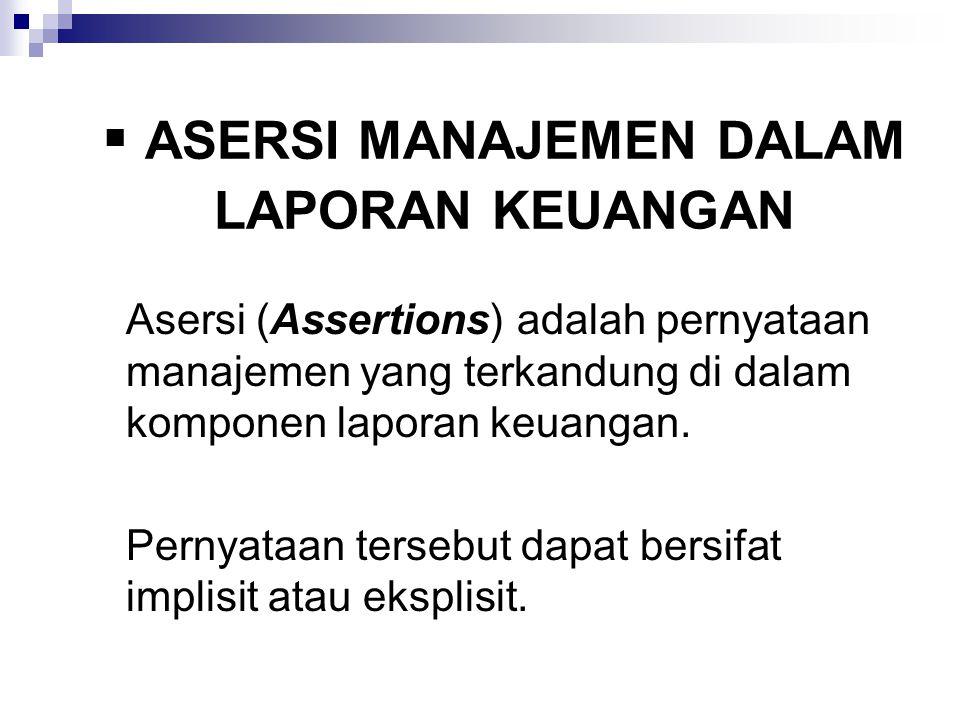  ASERSI MANAJEMEN DALAM LAPORAN KEUANGAN Asersi (Assertions) adalah pernyataan manajemen yang terkandung di dalam komponen laporan keuangan. Pernyata